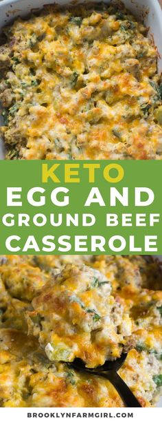 KETO Scrambled Egg Ground Beef Casserole recipe that's easy to make! This baked ground beef casserole is low carb and you can make ahead overnight if you'd like! It's packed with vegetables and sprinkled with cheddar cheese! Easy Casserole Dishes, Beef Casserole Recipes, Ground Beef Casserole, Easy Meat Recipes, Low Carb Recipes, Skinny Recipes, Yummy Recipes, Healthy Recipes, Breakfast Recipes