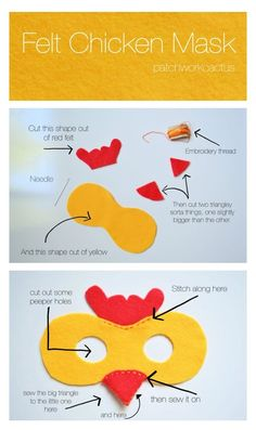 Halloween Chicken Costume DIY - Felt Mask Tutorial by Patchworkcactus, Chicken, Animal