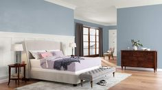 Benjamin Moore.  winter lake is the blue wall color