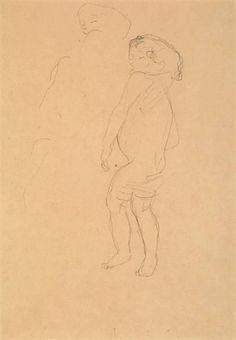 "Gustav Klimt (Austrian): Crayon Drawing, ""Study for 'The Three Ages of Woman'"" (1904-1905) [<$10,000 (2006)]"