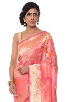 Peach tissue saree with meenakari