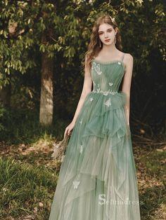 A Line Prom Dresses, Lace Evening Dresses, Cheap Prom Dresses, Bridesmaid Dresses, Green Prom Dresses, Fairy Prom Dress, Tulle Prom Dress, Tulle Lace, Dress Lace