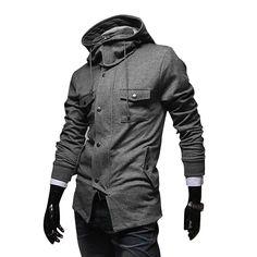 Men Button Up Long Sleeve Jacket Gray Man Fashion, Fashion Models, Men Wear, My Guy, Gray Jacket, Gorgeous Men, Men's Clothing, Men's Style, Gq