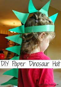 DIY Paper Dinosaur Hat Craft for Kids My girls love to dress up and play pretend.  I've found that the tiniest bit of prop, costume or accessory really encourages them, and allows them to extend their pretend play even further.  For our dinosaur theme week, I wanted to make them simple dinosaur hats, with spikes trailing down thier backs .My 4-year-old made hers on her own, with just a little bit of help and guidance from me.  It provided lots of cutting, gluing, and spatial reasoning…