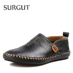 SURGUT Brand Best Quality Genuine Leather Men Flats Casual Shoes Soft Loafers Comfortable Driving Shoes Men Breathable Shoes (32262868619)  SEE MORE  #SuperDeals