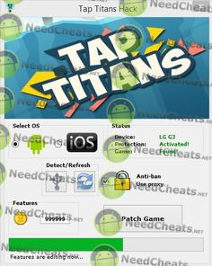 In the planet overrun by means of nasty Titans, it truly is your decision to be able to kill them along with regain peace along with get. How do you get it done? You must tap!  Engage to be able to invasion, tap to be able to kill, tap to collect silver, tap to employ characters. Engage to be able to trigger disastrous expertise, tap to be able to unlock powerful auras, tap to be able to summon strange artifacts.  Download: http://needcheats.net/tap-titans-cheats-gold-android-ios/