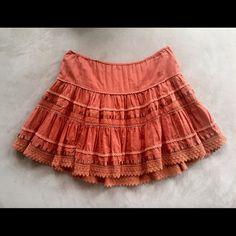 Charlotte Russe Burnt Orange Skirt Adorable full skirt, 100% cotton. Lining is also cotton, super comfortable! Charlotte Russe Skirts Circle & Skater