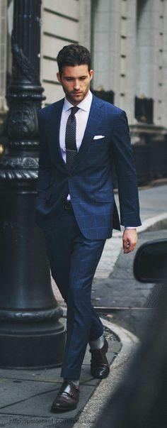 Plaid navy suit