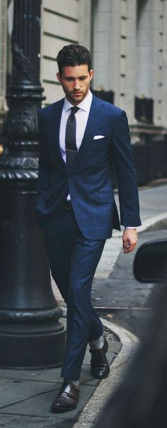 Plaid navy suit