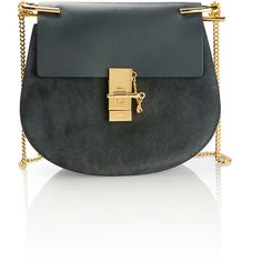 Chloé Drew Small Grey Blue Leather And Suede Bag (21.735 ARS) ❤ liked on Polyvore featuring bags, handbags, chloe purses, blue leather handbags, gray leather handbag, suede handbags and suede purse