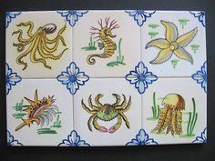 Six Vintage Viuva Lamego Portugal Handpainted Fish tiles
