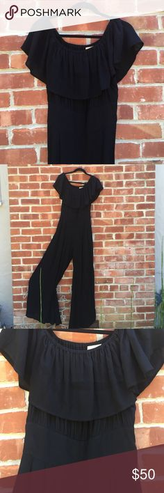 Black Jumpsuit Off the shoulder. Cinched waist. Wide legs. Great condition. * free people for exposure* Otis & Maclain Free People Pants Jumpsuits & Rompers