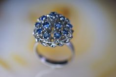 14k White Gold and Blue Sapphire Thai Princess Ring by JosephVeederJewelry on Etsy https://www.etsy.com/listing/220795337/14k-white-gold-and-blue-sapphire-thai