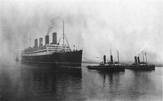 The Cunard ocean liner RMS Aquitania on the River Clyde in Scotland, shortly    after leaving the shipyard for her maiden voyage to New York in May 1914.