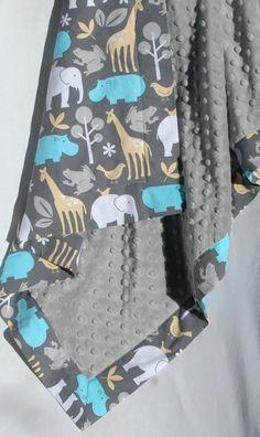 Animal minky blanket  from etsy