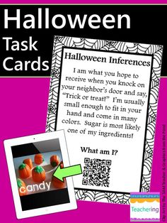 These Halloween Task Cards with QR codes are my favorite Halloween Center for 4th grade iPads! Students are super engaged any time we use these task cards for Halloween. They LOVE scanning the QR codes to check their answers. The Halloween themed task cards focus on making inferences, which is something we need to work on all year!