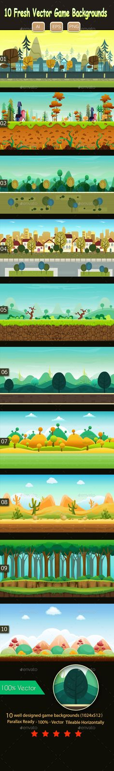 10 Fresh Vector Game Backgrounds