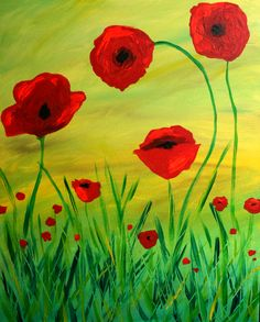 2 Paintings this Saturday! Come paint some pretty red poppies for our #LadybugMeadow painting in the afternoon. Or a serene water landscape with our #SapphireLagoon painting tomorrow night! #PaintDrinkHaveFun