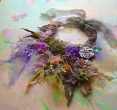 WOW!!!!Necklace Beautiful Artistic textiles SPRING GREEN and by Paulina