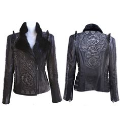Embossed & Sequined Leather Jacket with Beaver collar