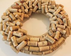 how to make a cork wreath step by step instructions step 3 random pattern layer Wine Cork Wreath, Wine Cork Art, Wine Cork Crafts, Wine Bottle Crafts, Wine Corks, Wine Bottles, Unique Christmas Decorations, Christmas Crafts, Xmas