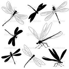 Набор силуэты стрекоз, тату — стоковая иллюстрация #4449668