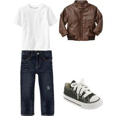well he's not a baby, but this is G-man's OWN style right here lol! he wants some converse and an aviator jacket for school this year! HIS ideas lol! Love his style! <3