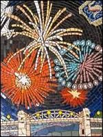 Fireworks over English Bay is a mosaic located at Pacific and Burrard Streets. - Art Under Foot - Look up the map and find all the mosaics that were part of this event in Vancouver!