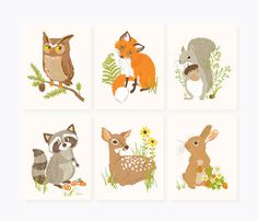 Woodland Forest Friends Nursery art for by SeaUrchinStudio like owl and deer too to complete triptik Woodland Critters, Woodland Forest, Woodland Creatures, Woodland Animals, Nursery Wall Decor, Nursery Art, Themed Nursery, Nursery Decals, Nursery Prints