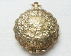 Vintage Gold Victorian Floral Bird Antique Powder Mirror Locket Pendant - PA1054