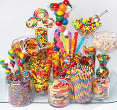 Sweet treats for a rainbow candy buffet