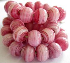 Handmade Pink Lampwork Beads by Beth Singleton