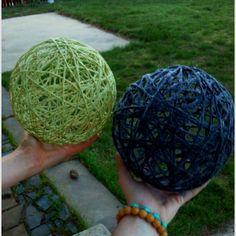 Yarn, glue, and balloons. DIY home decoration