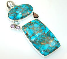 $73.85 Big!! Frost Breeze Copper Turquoise Sterling Silver Pendant at www.SilverRushStyle.com #pendant #handmade #jewelry #silver #turquoise