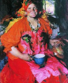 """Abram Arkhipov. """"Girl with a pitcher. 1927. Oil on canvas. The State Tretyakov Gallery. Moscow."""
