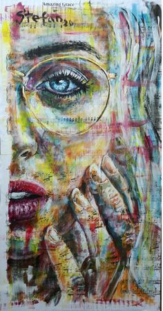 acrylic painting on old book pages glued to cardboard for book covers 60 x 30 50 € Old Book Pages, Old Books, Book Covers, Portrait, Artist, Painting, Antique Books, Headshot Photography, Artists