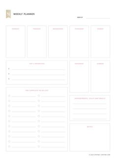 Get a weekly overview of your life with this free printable template. Set your top 3 priorities for the week and keep track of tasks, events and appointments. Download and print our weekly planner template and start getting organized! http://www.spotebi.com/fitness-tracker/weekly-planner-template/
