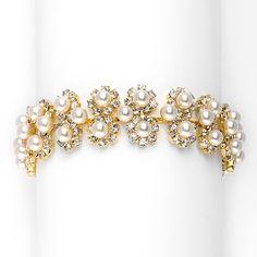 Mariell Ivory Pearl & Gold Rhinestone Bridal Bracelet with Daisies Bridesmaid Bracelet, Bridal Bracelet, Wedding Bracelets, Prom Jewelry, Wedding Jewelry, Diy Jewelry, Fashion Jewelry, Jewellery, 30th Anniversary Gifts
