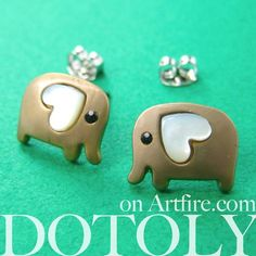 $10 Small Elephant Earrings in Dark Silver with Heart Ears - ALLERGY FREE
