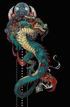 New tattoo dragon fantasy awesome Ideas Japanese Dragon, Japanese Art, Japanese Prints, Fantasy Dragon, Fantasy Art, Art Asiatique, Japon Illustration, Dragon Artwork, Dragon Tattoo Designs