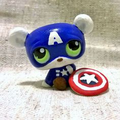 Captain A-Bear-Ica (Captain America) Littlest Pet Shop with clay shield