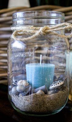 Wedding Centerpieces Mason Jars, Beach Wedding Centerpieces, Mason Jar Gifts, Mason Jar Diy, Seashell Crafts, Beach Crafts, Jar Crafts, Beach House Decor, Beach Themes