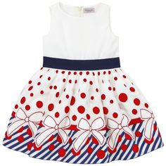 Exquisite ivory light cotton voile with red dots and blue stripes. Light cotton voile lining. Tulle jupon underneath. Round neckline. Invisible zip fastening at the back. Wide navy blue elasticated waistband. - 112,20 €