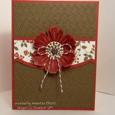 handmade card ... clean and simple ... brown and burgundy ... lots of white space with embossing folder texture ... Mixed Bunch flower with cute string bow under the center ... like the look of an envelope flap to back up the flower ... Stampin' Up!.