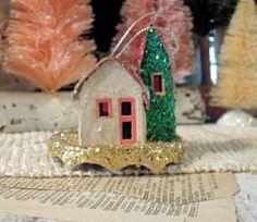 Vintage Mini Putz House Christmas Tree Ornament by AloofNewfWhimsy, $6.00