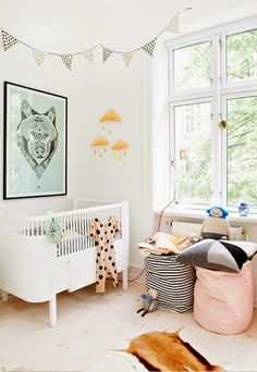One central piece of artwork can give the room a sense of theme. 17 Scandinavian Kid's Room Design Ideas You'll Want To Steal Baby Bedroom, Nursery Room, Kids Bedroom, Nursery Decor, Bedroom Ideas, Deer Nursery, Themed Nursery, Bedroom Small, Bedroom Black