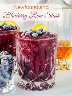Newfoundland Blueberry Rum Slush - in time for the festive season, this make-ahead cocktail is made with wild blueberries & no artificial colors or flavors. Rock Recipes, Slush Recipes, Cocktail Recipes, Milkshake Recipes, Margarita Recipes, Easy Recipes, Cooking Recipes, Refreshing Cocktails, Yummy Drinks