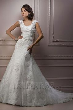 A-Line Empire Scoop Tulle Luxury Wedding Dresses