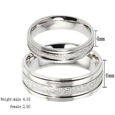 La moda de Nueva Perla Parejas de arena anillo de acero Titanium - USD $ 2.99