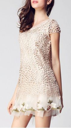 Dimensional embroidery dress skirt
